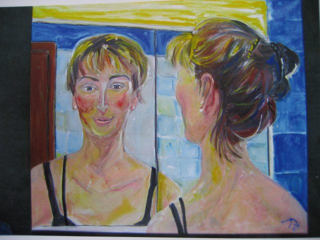 5. Ula vor Spiegel (2011), 60×70, Acryl/Öl