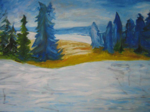 8. Landschaft bei Andechs im Januar (2000), 70×50, Öl auf Papier