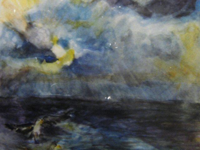 16. Möven am Nordseestrand (1990), 50×64, Aquarell