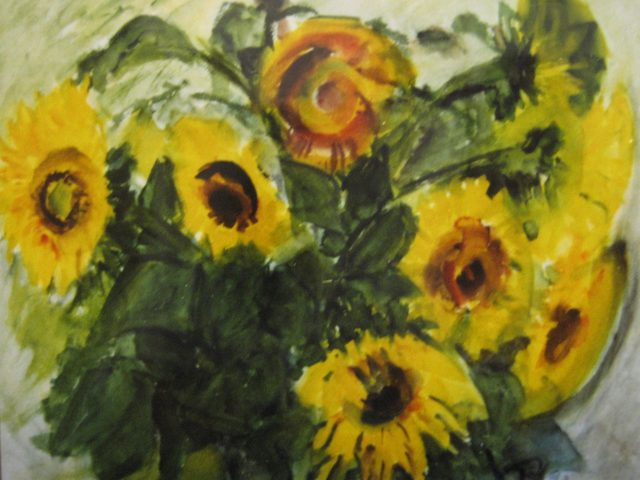 18. Sonnenblumen (1992), 50×64, Aquarell