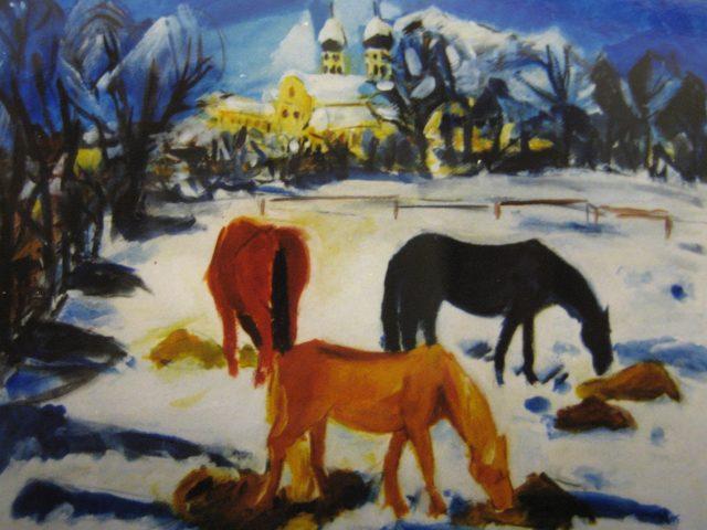 19. Pferde im Schnee/Benediktbeuern (1995), 50×64, Acryl