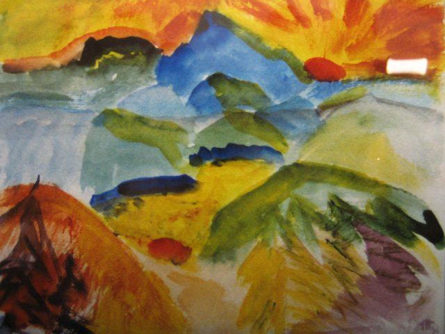 20. Morgen im Gebirge (1992), 30×40, Aquarell