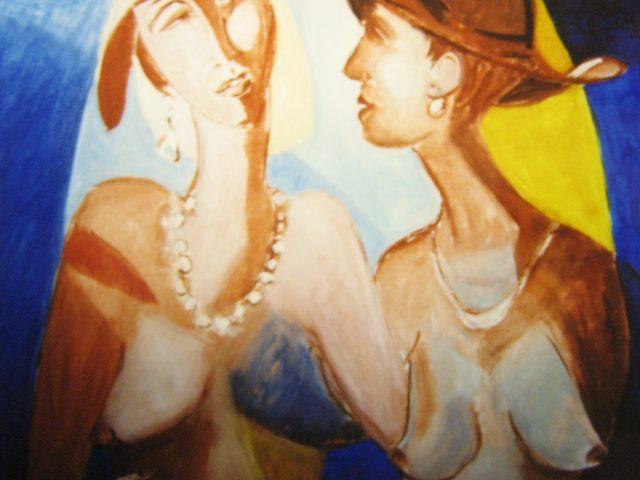 29. Sog. Klassefrauen vor gotischem Fenster (1999), 70×100, Öl (übermalt)