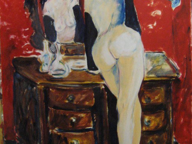 39. Akt vor Spiegel (1999), 50×70, Öl