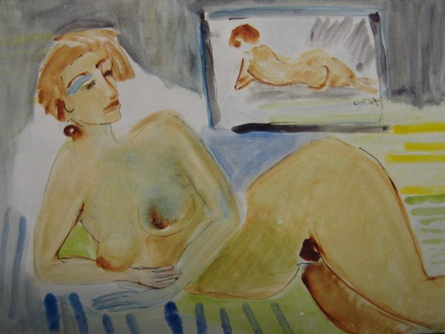 40. Akt – liegend (2000), 87×62, Acryl
