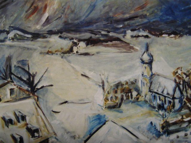 41. Winter im Pfaffenwinkel (2000), 49×71, Öl auf Papier