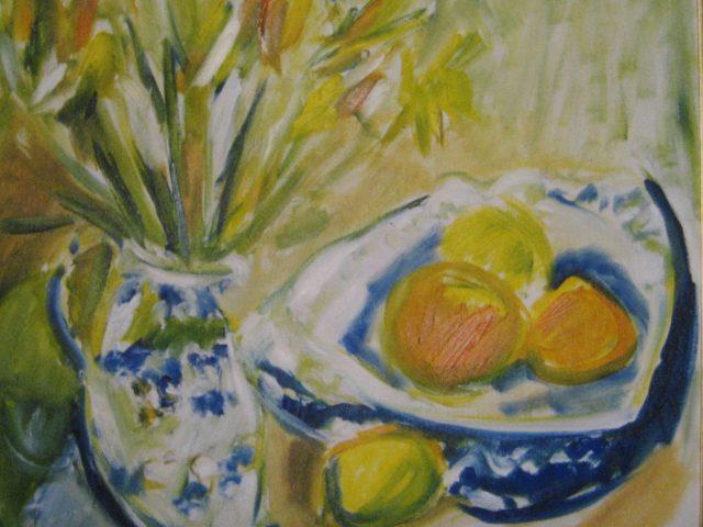 43. Delfter blau mit Narzissen (2001), 40×50, Aquarell