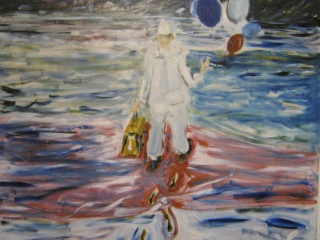 45. quo vadis / Abgang des Clowns (2001), 100×100, Öl