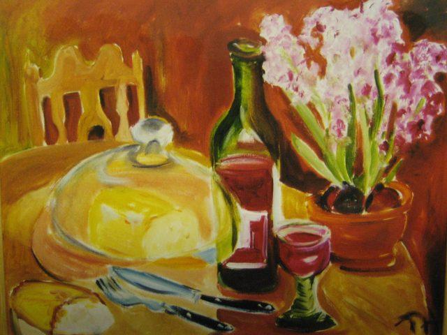 48. Stillleben mit Wein und Käse (2001), 50×60, Öl