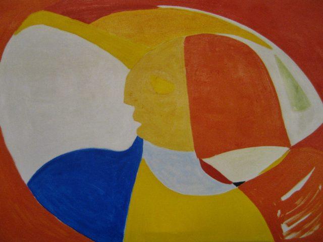 52. Farbige Wand (2003), 100x 70, Öl