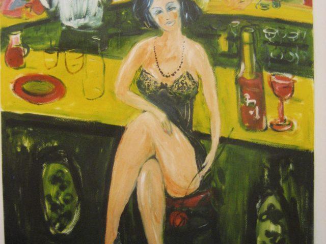 56. Bardame mit roter Rose (2004), 64×50, Öl