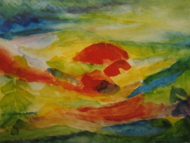 57. Sonnenaufgang im Gebirge – Serfaus (2003), 30×40, Aquarell