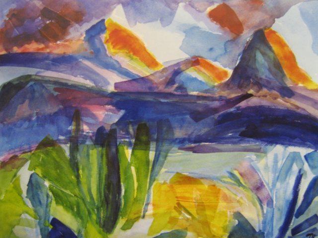 58. Blick in's Gebirge (2005), 50×64, Aquarell
