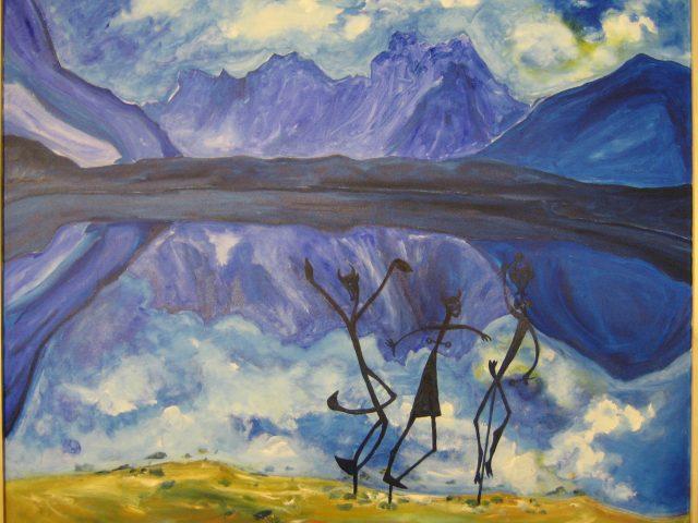66. Berggeister vor Alpenpanorama (2008), 100×120, Öl