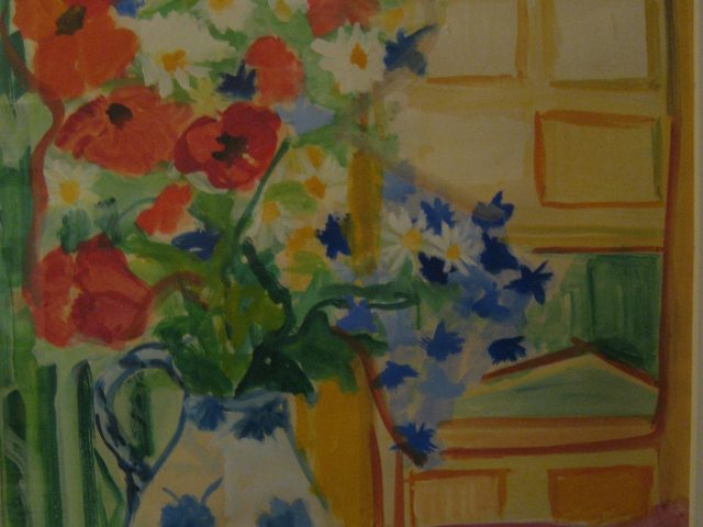 67. Delfter Vase mit Feldblumen (1966), 65×47, Deckfarben