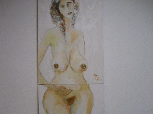 72. Großer Frauenakt (3 Tafeln) (2015), 227×70, Acryl und Grundierweiß auf Leinwand