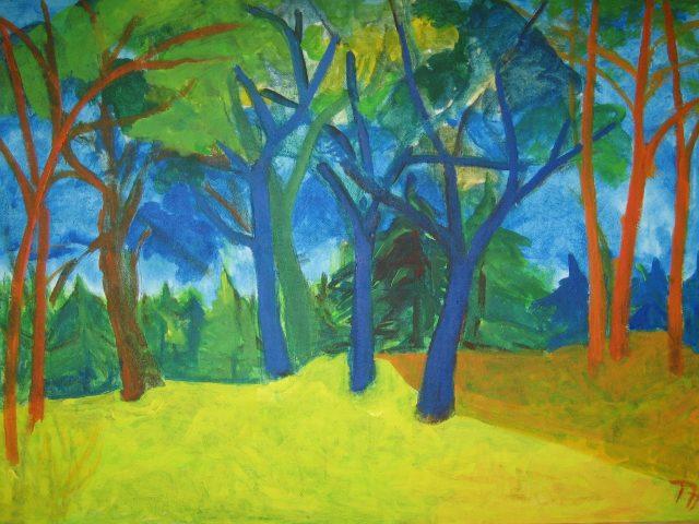 77. Lichtung mit alten Bäumen (2010), 70×100 (Acryl auf Leinwand)