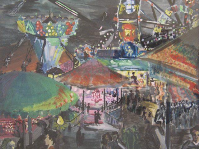78. Kirmesplatz am Abend (1958), Deckfarben