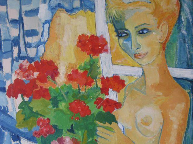 79. Elke am Fenster (1965), 60×80, Deckfarben